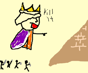 King commands his troops to attack pyramid