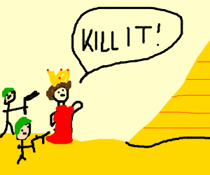 Queen tells her troops to kill a pyramid