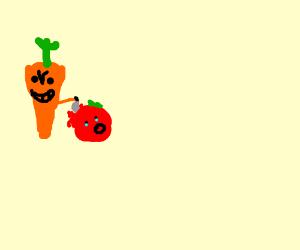 carrot cutting tomato?