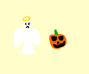 Jack-o'-lantern stalks behind an angel