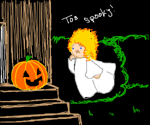 Angel is scared of Jack-O-Lantern
