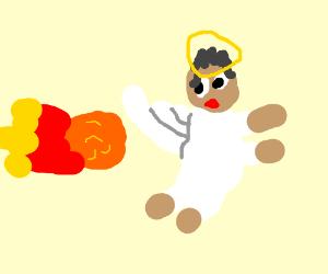 Cool angel runs from a fireball