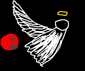A flying meatball chasing an angel.