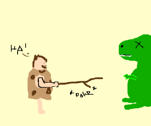 Caveman victoriously pokes already-dead T-rex