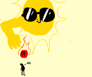 The sun dropping a hot ball on a person