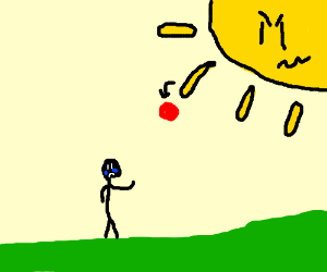 angry SUN passing ball to crying man