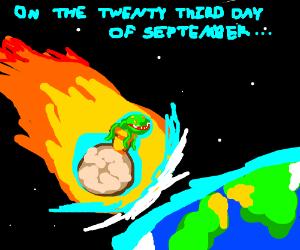 Meteor bringing Audrey II to Earth