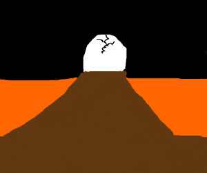 huge egg is plugging up mouth of volcano