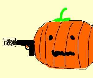 Pumpkin shooting a calculator