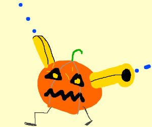 A pumpkin man with 2 yellow arm-cannons