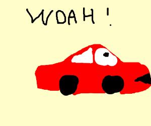 Woah, red car!