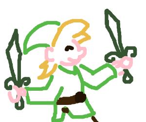 Link with 2 swords.