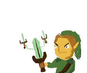 Link holding a dekusword that wields 2 others.