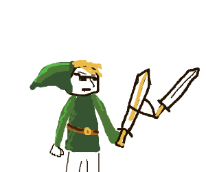Link is so cool his sword wields sword