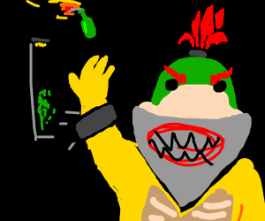 One of the Koopalings about to burn the world