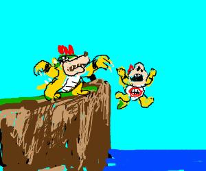 Bowser pushes Bowser Jr. off a cliff