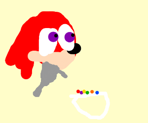 Knuckles the Echidna slurps up Trix Cereal.