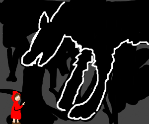 Little Red Riding Hood flips the wolf off