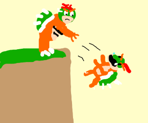 Bowser throws Baby Bowser off a cliff