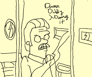 Ned Flanders angrily looks out his window