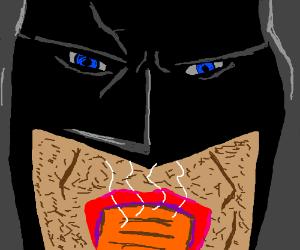 Batman eats a hot pocket nom nom