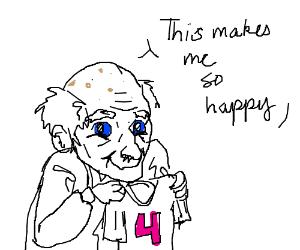 Old man happy he has 4 shirt