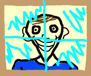 man with pointy chin looks through window at