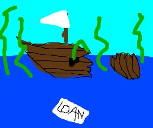 Kraken ripping boat. Loan survivor floats.