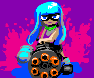 Blue Inkling girl aims her weapon at you.