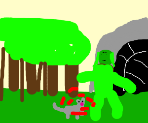 cave troll bleeds onto cat