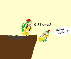 Bowser pushes Bowser Jr off a cliff