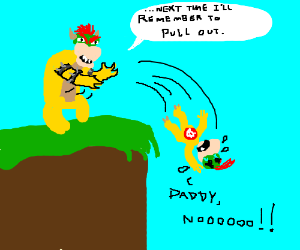 Bowser throws bowser junior off a cliff.
