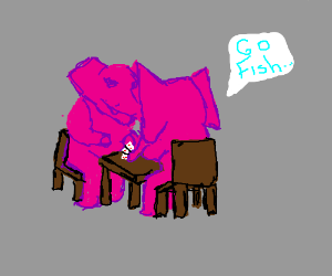 Two pink elephants playing go fish