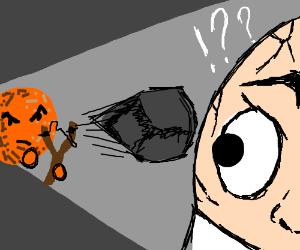 Orange with a face fires slingshot at egg