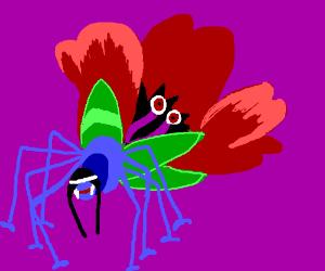 Freudian scene involving spider and flower