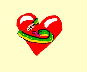 Snake hugging Heart