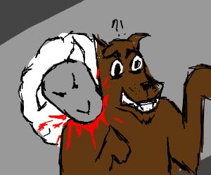 Sheep attacks wolf
