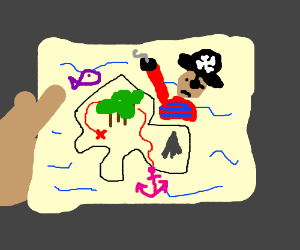 Looking at an angry pirate map