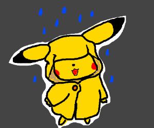 cute pikachu in the rain