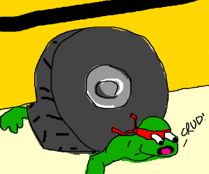 Michelangelo gets run over by a bus