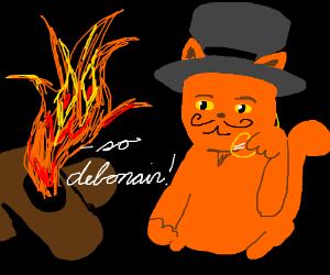 Fancy cat is debonair according to campfire