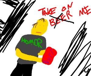 Homer Simpson drinks duff beer in A-ha video