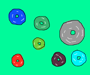 shiny green purple blue and red fruitloops