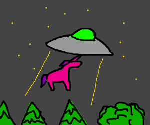 unicorn captured by aliens.