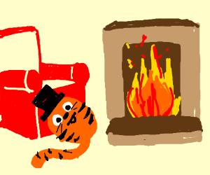 Gentlecat Garfield relaxing near a fire.