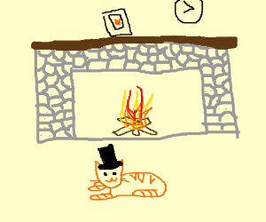 Top hat tabby cat's fire place