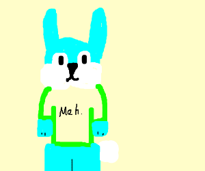 Big blue bunny's tshirt expresses indifference