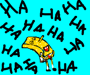 spongebob laughing so much, it erases words