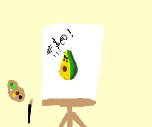 Angry painted avocado