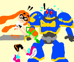 Space marine messily chops inkling in half